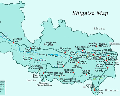 Shigatse Tourist Map