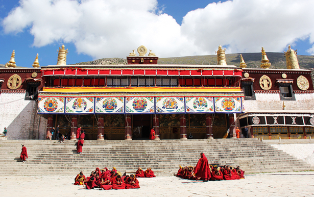 Monks at Drepung Monastery Entrance
