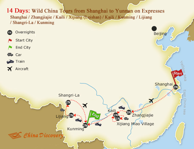 14 Days Wild China Tours from Shanghai to Yunnan on Expresses