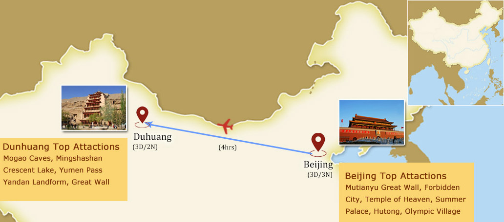6 Days Beijing to Dunhuang Silk Road Tour Map