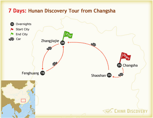 7 Days Changsha Zhangjiajie Fenghuang Tour Map