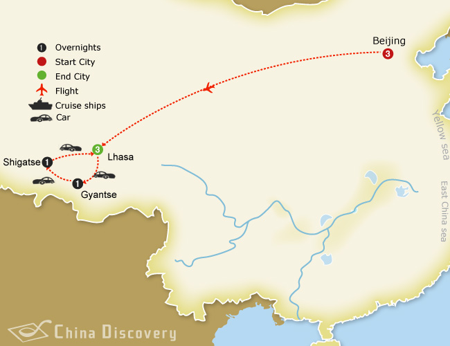 10 days Beijing Lhasa tour map