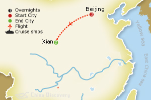 6 days Beijing Xian tour map