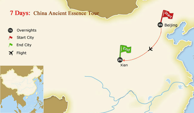 7 Days China Ancient Essence Tour Map