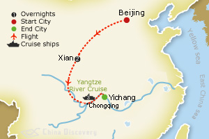 6 days Beijing Yangtze tour map