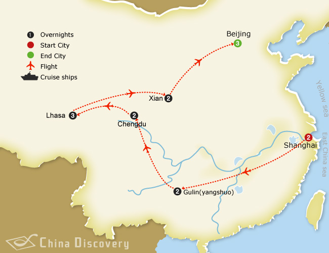 15 days China & Tibet tour map