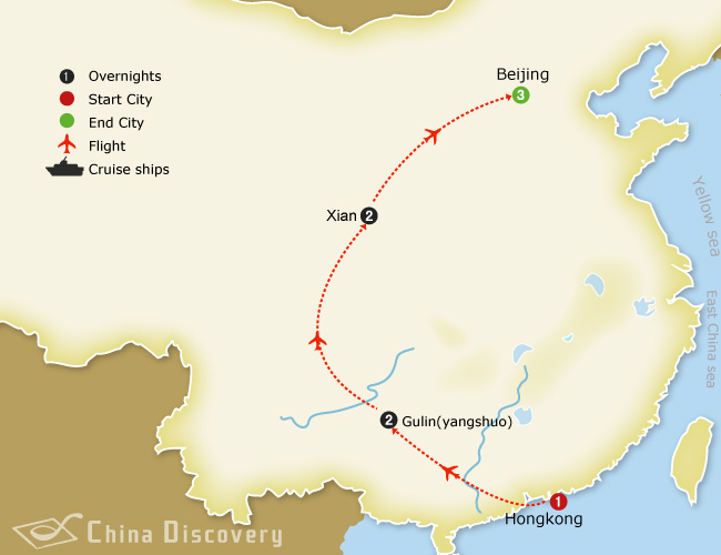 9 days China bike tour map