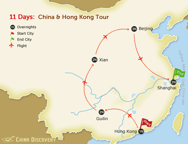 11 Days China & Hong Kong tour map
