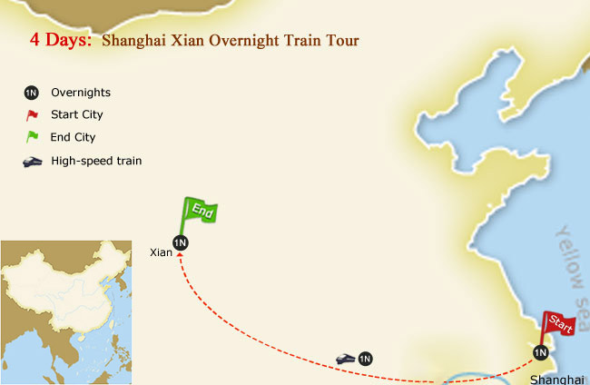 4 Days Shanghai Xian Overnight Train Tour Map