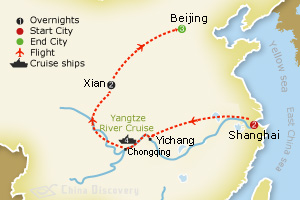 12 days classic China with Yangtze tour map