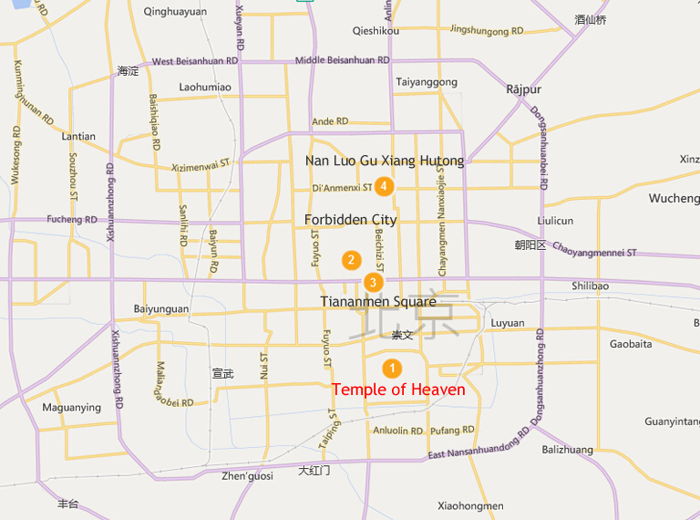 Temple of Heaven Location Map