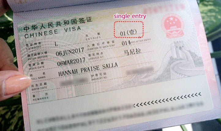 China Single Double Multiple Entry Visa