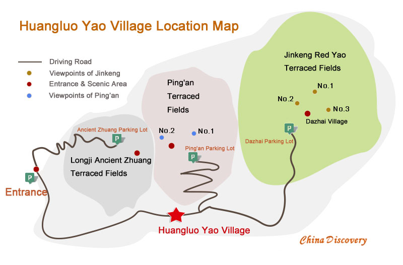 Huangluo Yao Village Location Map