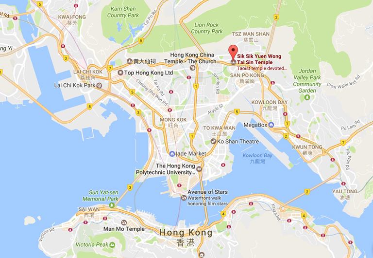 Wong Tai Sin Temple Location Map
