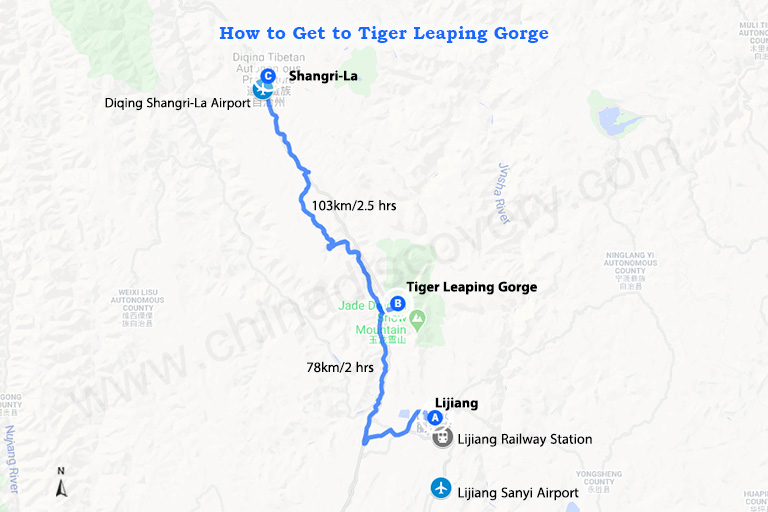 Tiger Leaping Gorge Transportation Map