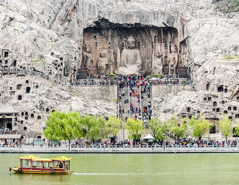 Longmen Grottoes Scenery from Opposite Riverside