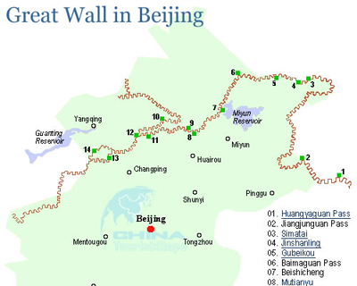 where is the great wall of china on a map 2020 Great Wall Maps Great Wall Hiking Map where is the great wall of china on a map