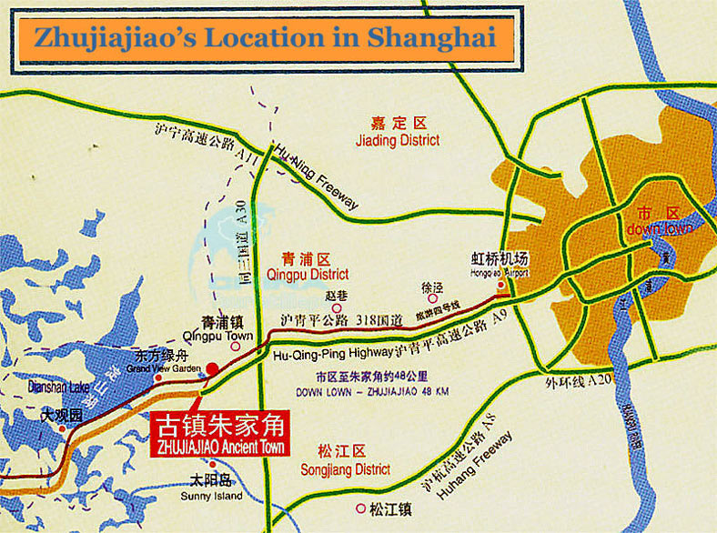 Zhujiajiao Ancient Town Location Map