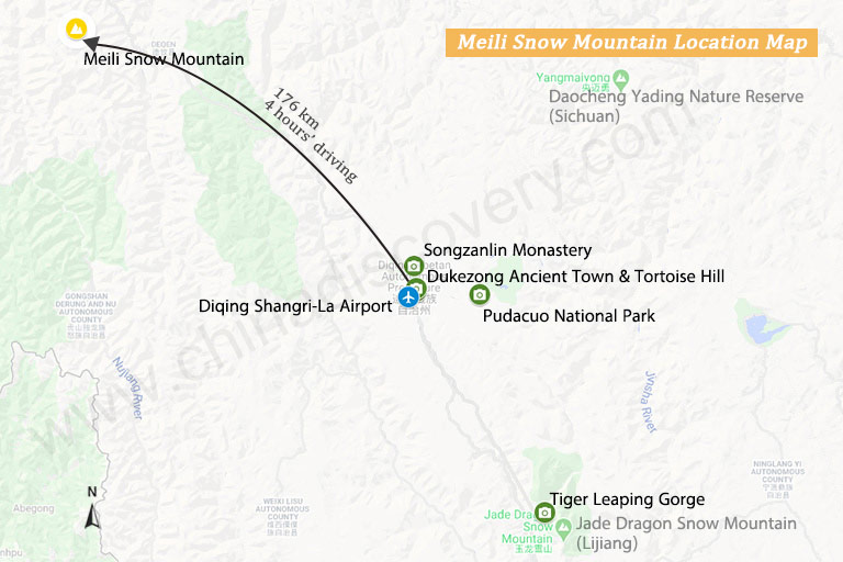 Meili Snow Mountain Transportation Map