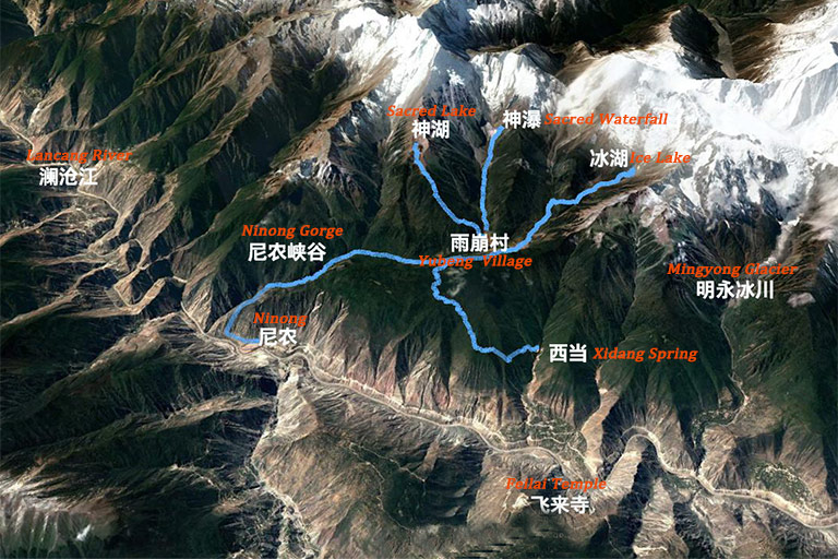 Hiking Map in and around Yubeng Village