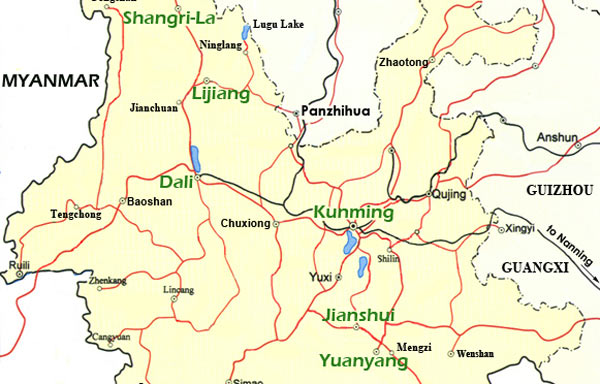 Yunnan China Map