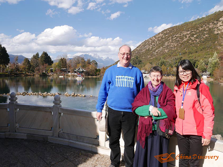 David and His Wife Took a Picture with the Guide at Black Dragon Pool Park in Lijiang, Photo Shared by David, Tour Customized by Wendy