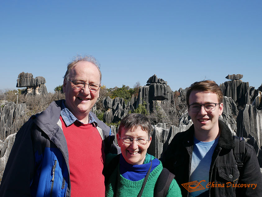 David with His Wife and Son in Stone Forest, Photo Shared by David, Tour Customized by Wendy