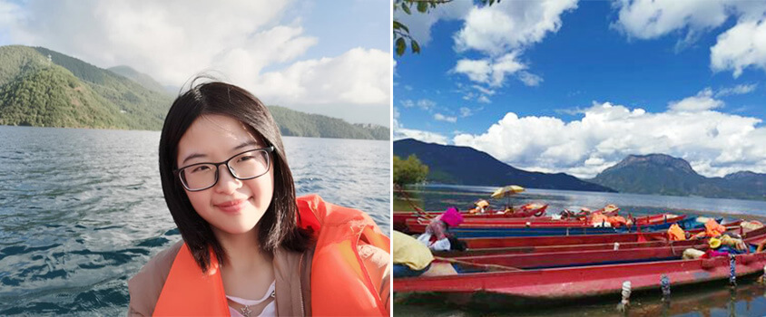Take a Canoe to Enjoy Beautiful Lugu Lake Scenery