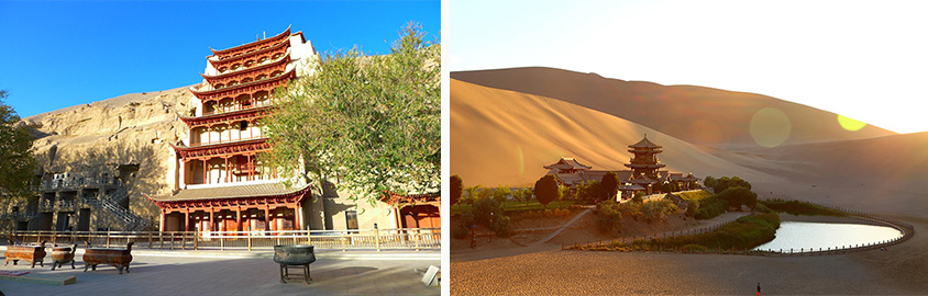 Mogao Grottoes (left) and Echoing Sand Mountain Crescent Lake (right) in Dunhuang, Tour Customized by Leo