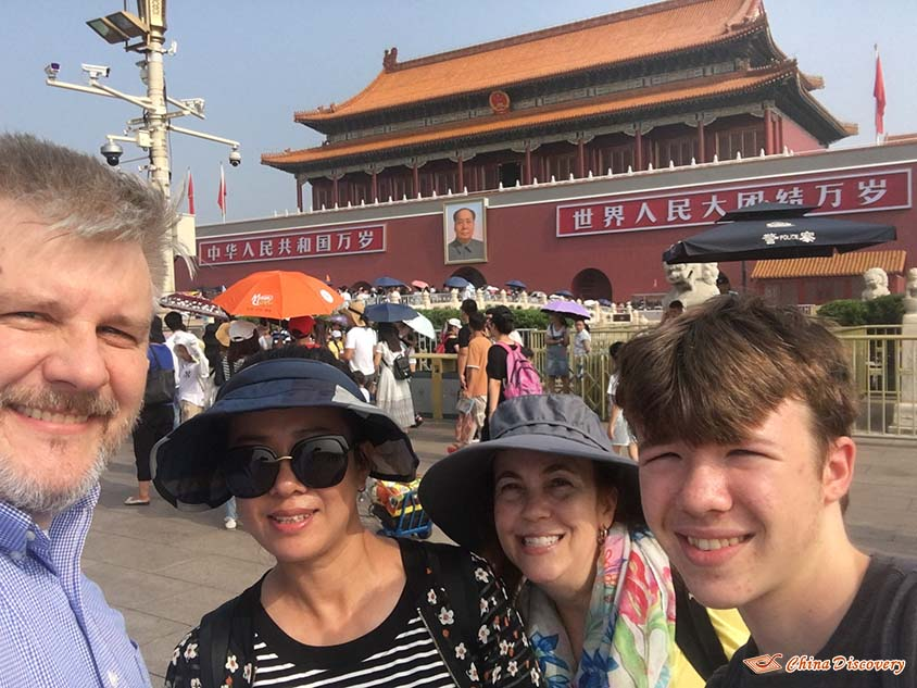 John's Family Took a Selfie with the Beijing Guide at Tiananmen Square, Photo Shared by John, Tour Customized by Leo