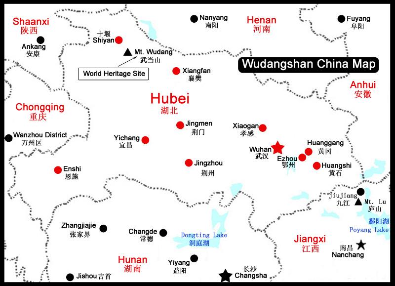 Wudang Mountain Maps, Wudang Mountain China Map