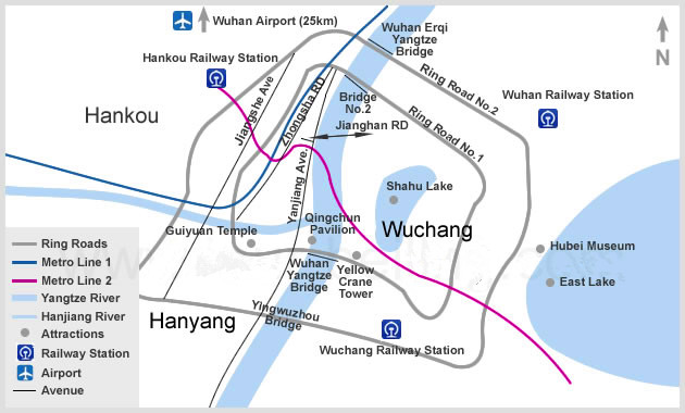 Wuhan Maps with Yellow Crane Tower Yangtze River