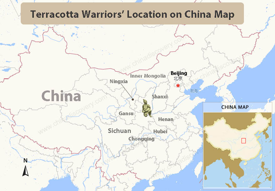 Terracotta Warriors Location on China Map