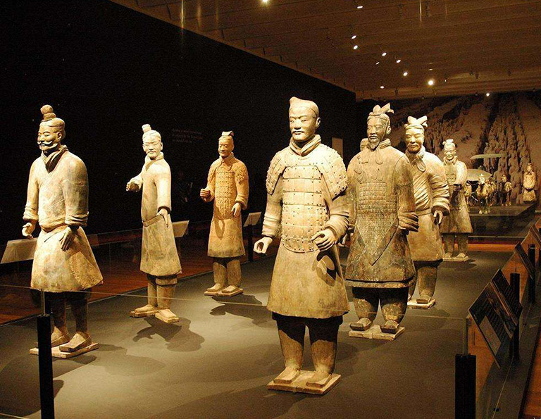 Terracotta Warriors were built by the first emperor of China Qin Shihuang to protect him in his afterlife