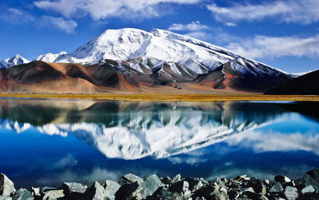 Reflection of Snow Mountain on Karakul Lake