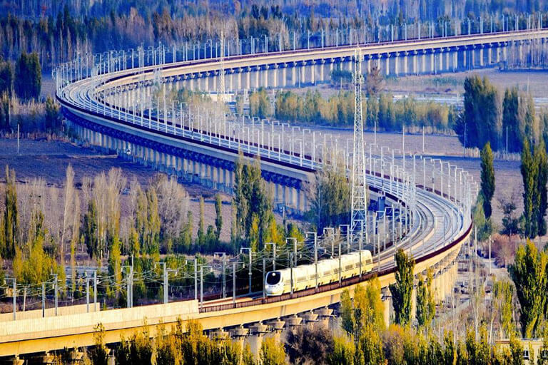 A Bullet Train Running on the High Speed Rail in Xinjiang