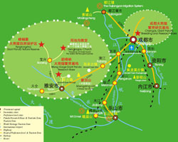 Ya'an Attractions Map