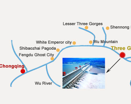 Three Gorges Dam Location Map