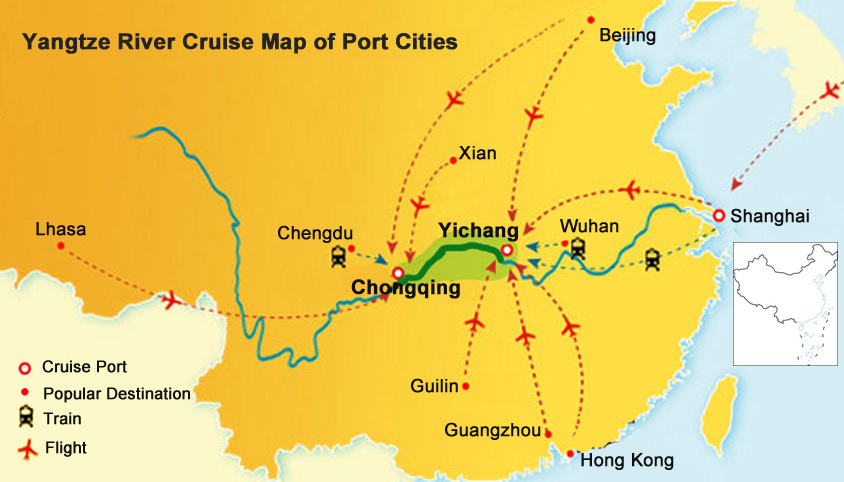 Yangtze river map yangtze cruise location route ports transfer map of yangtze river port cities gumiabroncs Choice Image