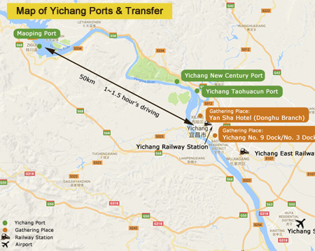 Yangtze River Map - Yichang Map of Ports and Transfer