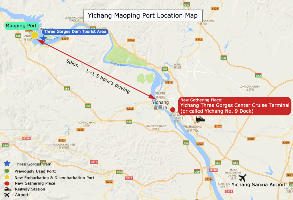 Yangtze Cruise Port - Yichang Port Map