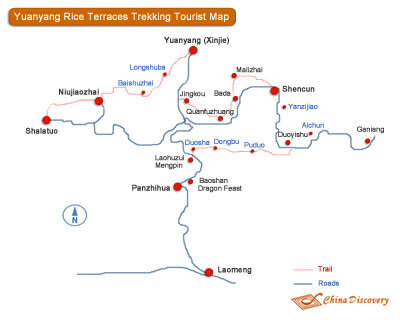 Hani Rice Terraces Trekking Map