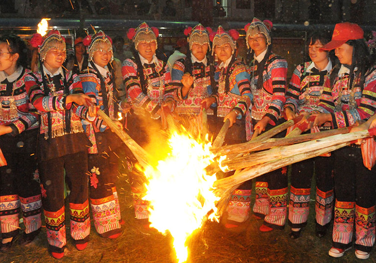 Yi Minority Torch Festival in Yunnan