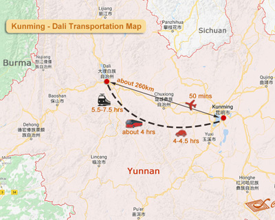 Dali to Kunming Map
