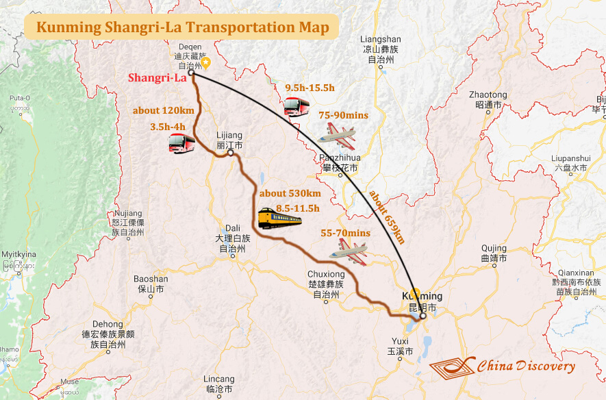 Kunming Shangri-La Transportation Map