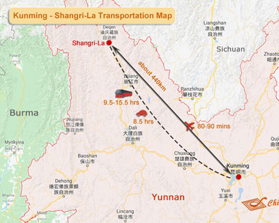 Shangri-La to Kunming Map
