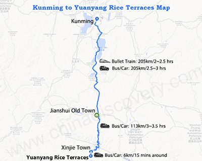 Kunming to Yuanyang Map