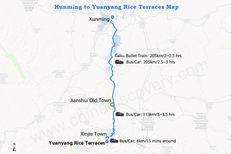 Lijiang Yuanyang Travel Map