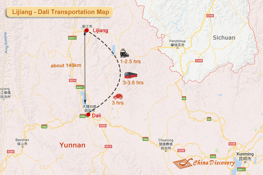 Lijiang Dali Transportation Map