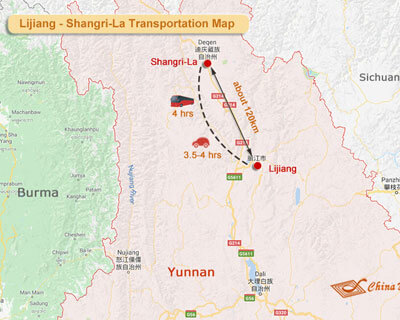 Shangri-La to Lijiang Map